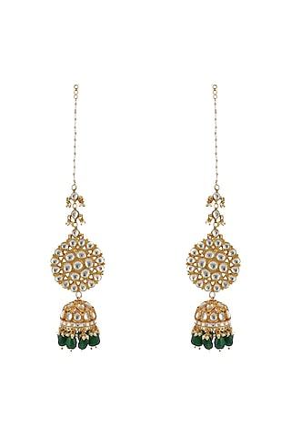 Gold Plated Green Beads Jhumka Earrings by Riana Jewellery