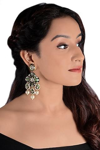 Gold Plated Meenakari Earrings by Riana Jewellery
