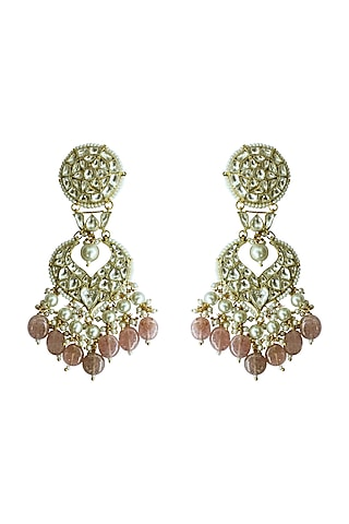 Gold Plated Pink Beads Pearl Earrings by Riana Jewellery