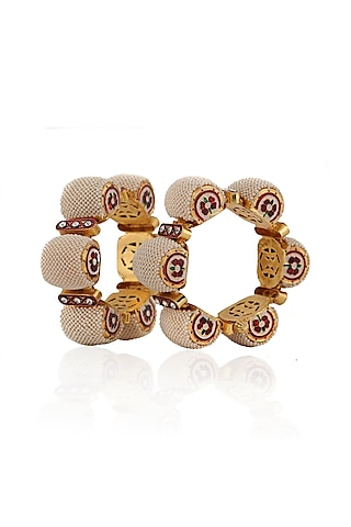 Gold Plated Jadtar Bangles by Riana Jewellery