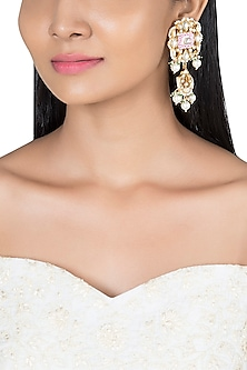 Gold Plated Faux Pearl Meenakari Earrings by Riana Jewellery