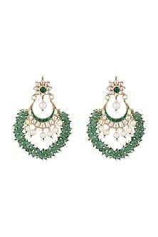 Gold Plated Stone & Bead Chandbali Earrings by Riana Jewellery