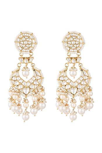 Gold Plated Faux Pearl & Stone Earrings by Riana Jewellery