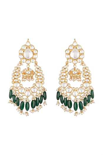 Gold Plated Green Bead Drop & Small Jhumki Earrings by Riana Jewellery