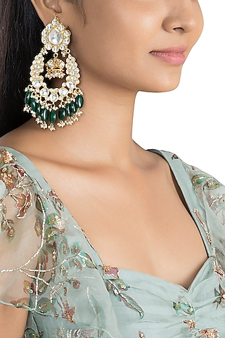 Gold Plated Green Bead Drop & Small Jhumki Earrings by Riana Jewellery