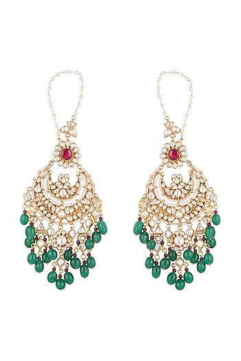 Gold Plated Faux Pearl, Stone & Bead Chandbali Earrings by Riana Jewellery