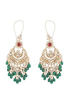 Gold Plated Faux Pearl, Stone & Bead Chandbali Earrings by Riana Jewellery