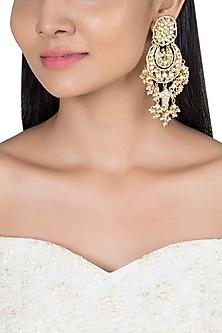 Gold Plated Fish Shaped Chandbali Earrings by Riana Jewellery