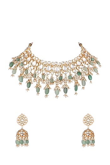 Gold Plated Bead & Stone Necklace Set by Riana Jewellery