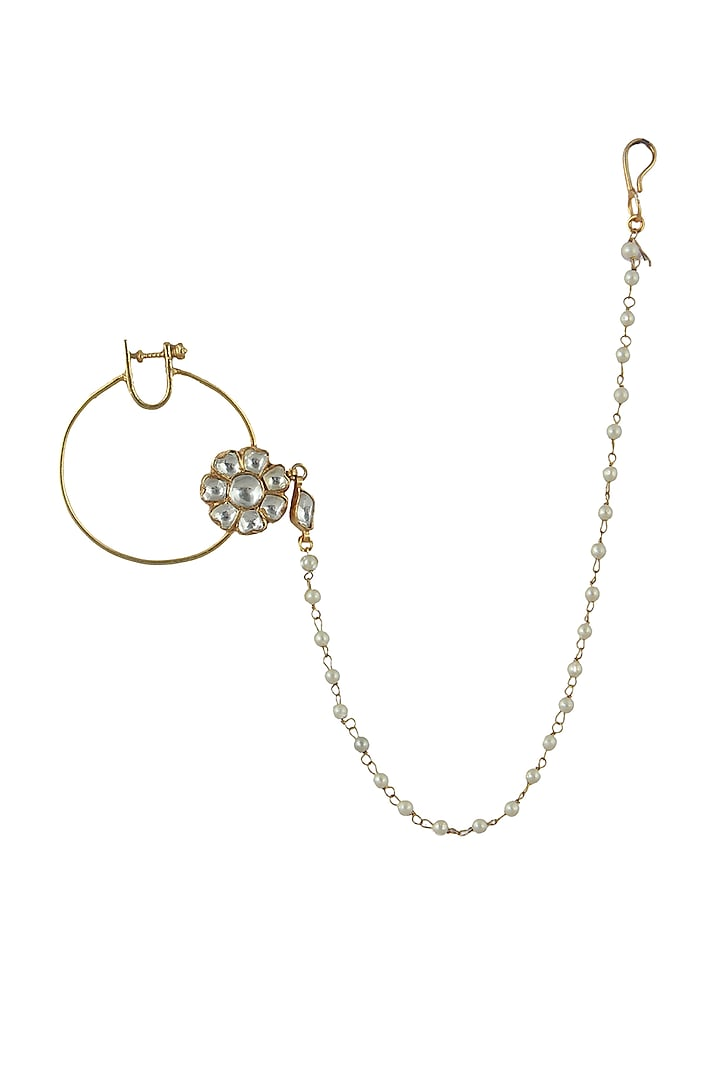 Gold Plated Semi Precious Stone Floral Nath by Riana Jewellery