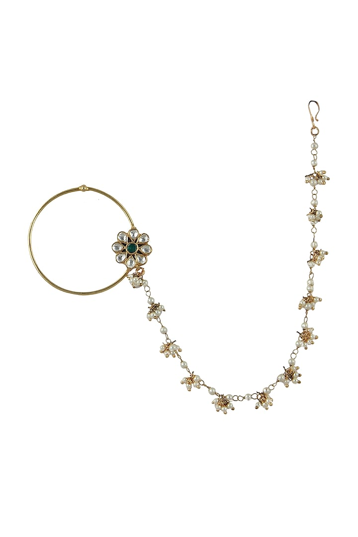 Gold Plated Beaded Floral Nath by Riana Jewellery