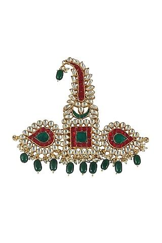 Gold Plated Pearl & Jadtar Stone Kilangi by Riana Jewellery