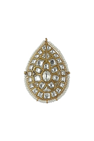 Gold Plated Moti Ring by Riana Jewellery