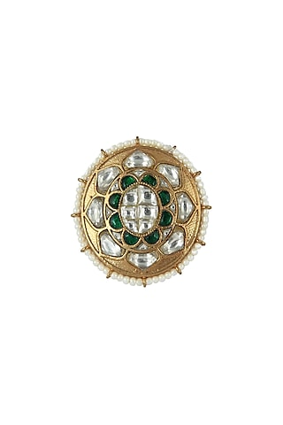 Gold Plated White & Green Stone Ovel Ring by Riana Jewellery