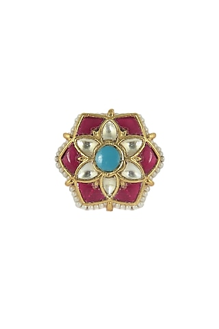 Gold Plated Multi Colored Stone Ring by Riana Jewellery