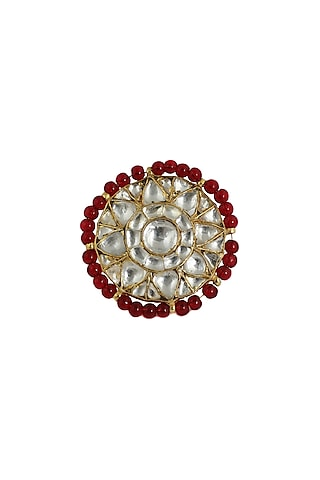 Gold Plated Red Moti Ring  by Riana Jewellery