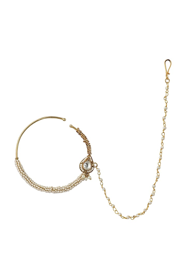 Gold Plated Pearl Nath  by Riana Jewellery