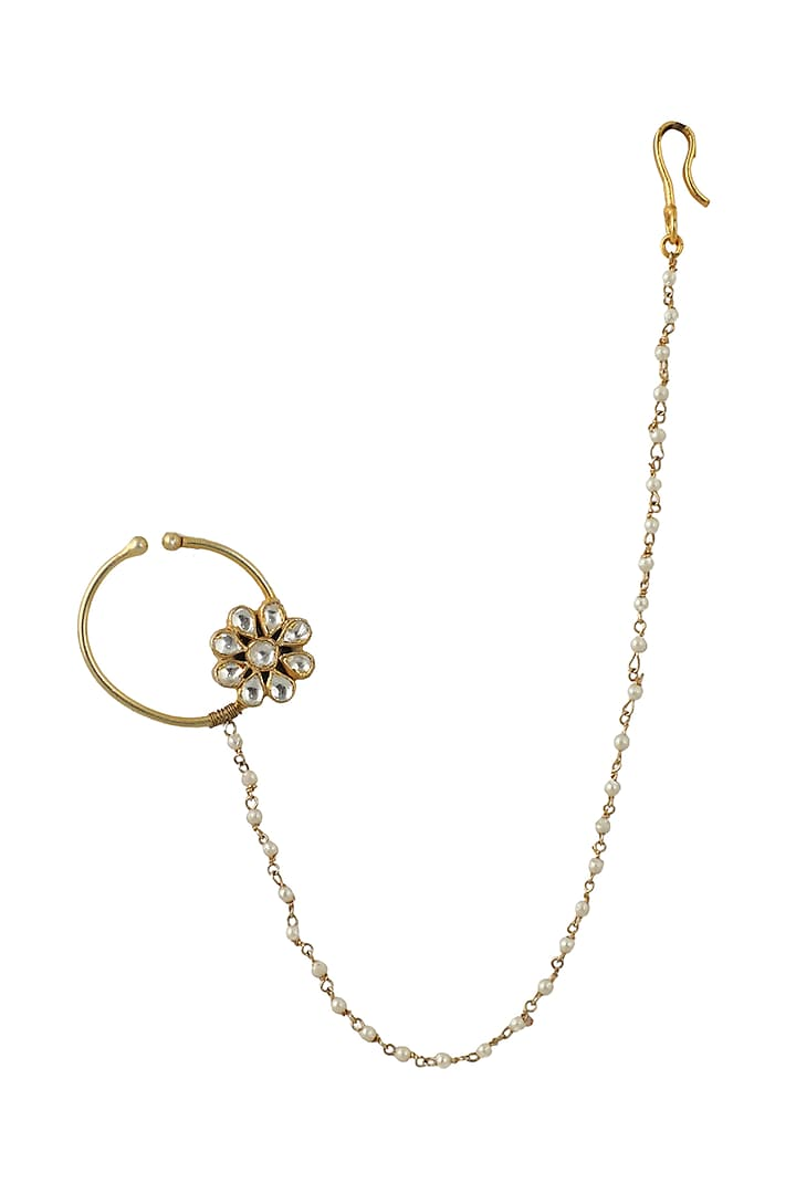 Gold Plated White Floral Nath  by Riana Jewellery