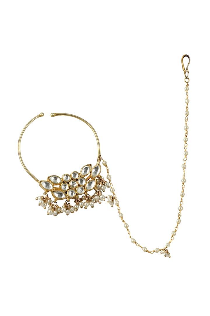 Gold Plated Kundan Polki Nath  by Riana Jewellery