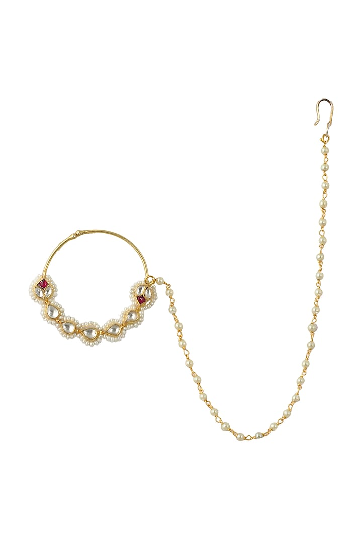 Gold Plated White & Pink Nath  by Riana Jewellery