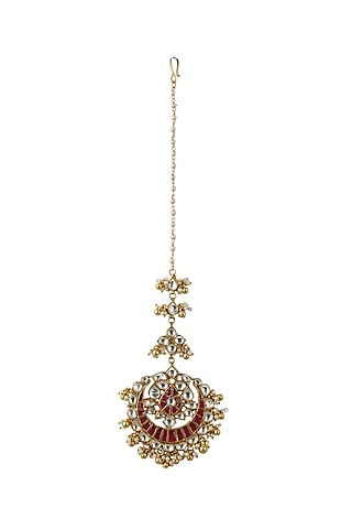Gold Plated Pink & White Jadtar Stone Maang Tikka by Riana Jewellery