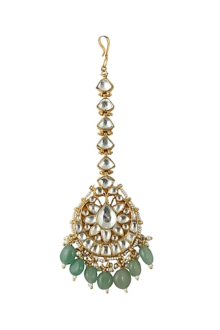 Gold Plated Beads & Stones Maang Tikka by Riana Jewellery