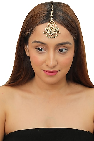 Gold Plated Pearl Maang Tikka by Riana Jewellery