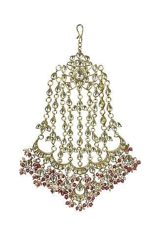 Gold Plated Beaded Headpiece by Riana Jewellery