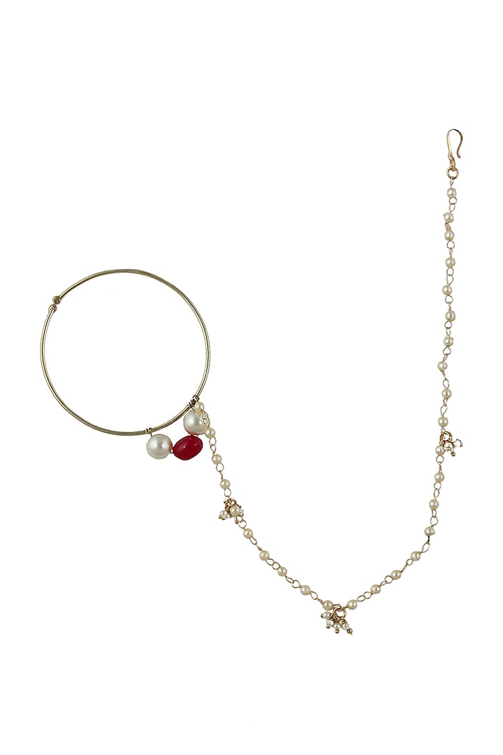 Gold Plated Pearl & Beaded Nath by Riana Jewellery