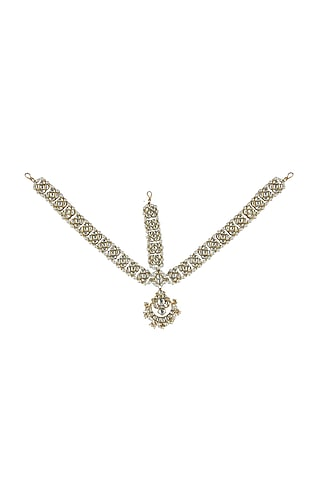 Gold Plated Jadtar Stone Floral Maang Patti by Riana Jewellery