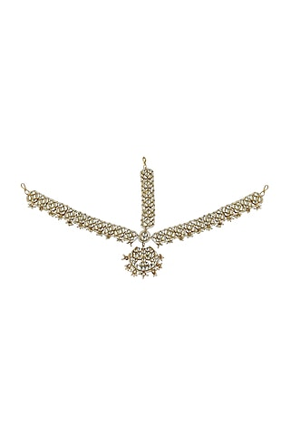 Gold Plated Maang Patti With Pearls by Riana Jewellery