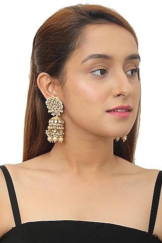 Gold Plated Pearl Jhumka Earrings by Riana Jewellery