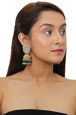 Gold Plated Pearl & Jadtar Stones Jhumka Earrings by Riana Jewellery