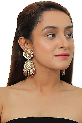 Gold Plated Pearl Earrings by Riana Jewellery