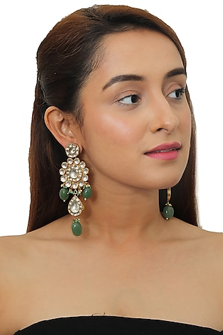 Gold Plated Pearl & Beads Earrings by Riana Jewellery