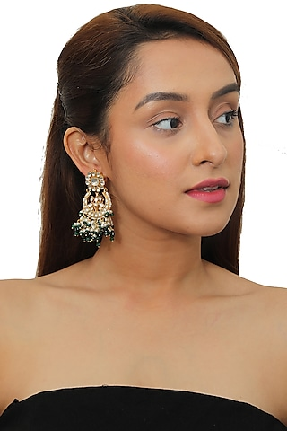 Gold Plated Green Beaded Earrings by Riana Jewellery