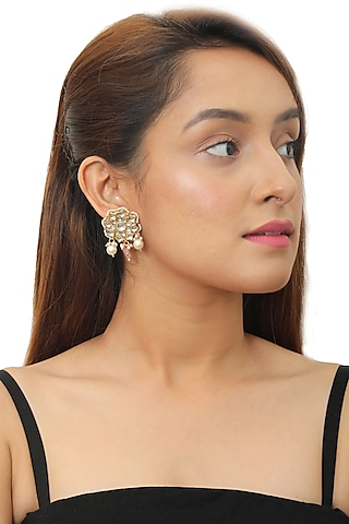 Gold Plated Pink & White Beaded Earrings by Riana Jewellery