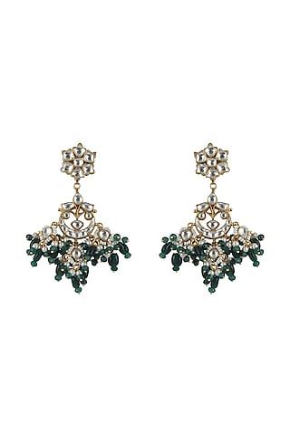 Gold Plated Jadtar Stone Earrings by Riana Jewellery