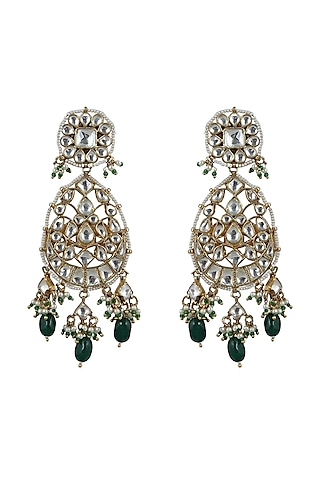 Gold Plated White Jadtar Stone Earrings by Riana Jewellery
