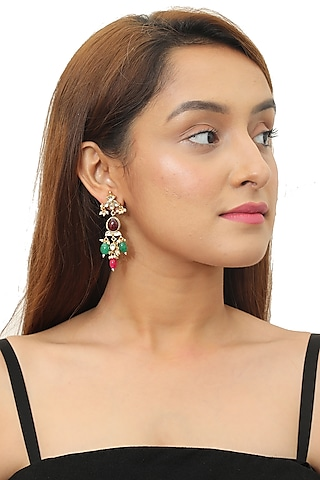 Gold Plated Multi Colored Beaded Earrings by Riana Jewellery
