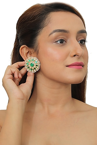 Gold Plated White & Green Jadtar Stone Earrings by Riana Jewellery