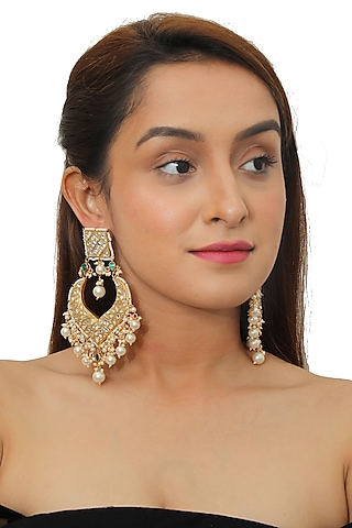 Gold Plated Jadtar Stone Chandbali Earrings by Riana Jewellery