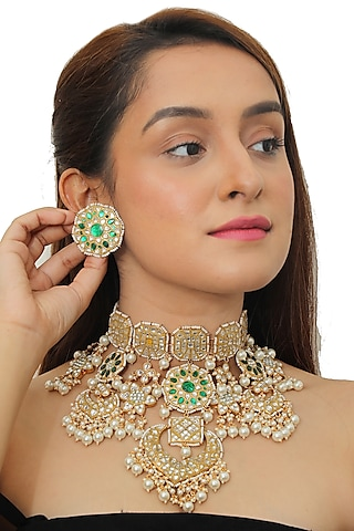 Gold Plated White & Green Bridal Necklace Set by Riana Jewellery