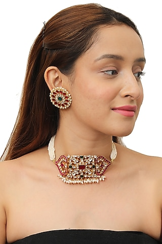 Gold Plated Pink & Green Choker Necklace Set by Riana Jewellery