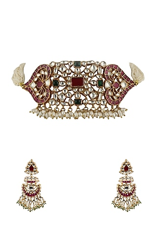 Gold Plated Pink & White Choker Necklace Set by Riana Jewellery