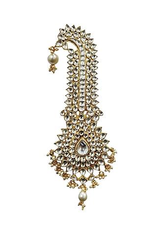 Gold Plated White Beaded Kilangi by Riana Jewellery