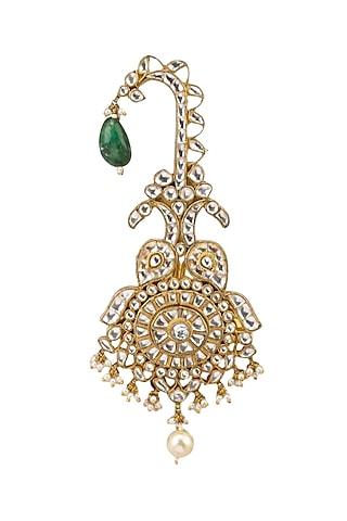Gold Plated White Jadtar Stone Kilangi by Riana Jewellery