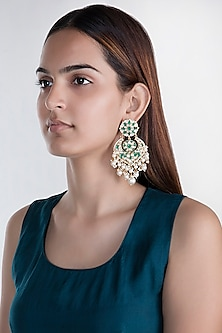 Gold Plated Pearl Drop Chandbali Earrings by Riana Jewellery