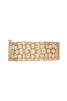 Gold Plated Floral Jadtar Stone Bangle by Riana Jewellery