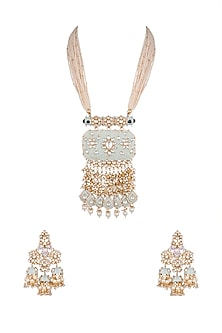 Gold Plated Meenakari Pearl Pendant Necklace Set by Riana Jewellery